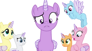 MLP main cast looking frightened Base