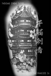 Black and Grey Chinese Pagoda with Cherry Blossom by ThousandStrokeTattoo