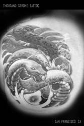 Black and Grey Snake Tattoo with Waves by ThousandStrokeTattoo