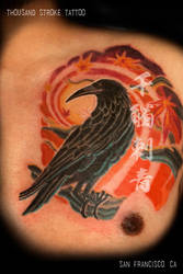 Japanese Ukiyo-e inspired crow by ThousandStrokeTattoo