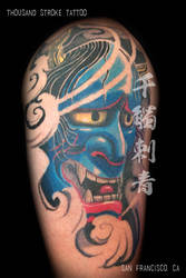 Blue Hannya Mask by ThousandStrokeTattoo