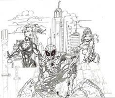 Spidey-Cat-Elektra fanart by Alf-Alpha