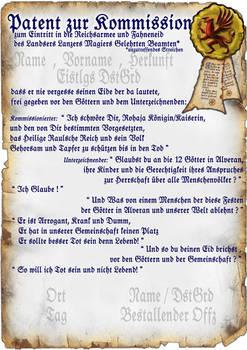 Reichsarmee - Kommissionspatent, Blanko