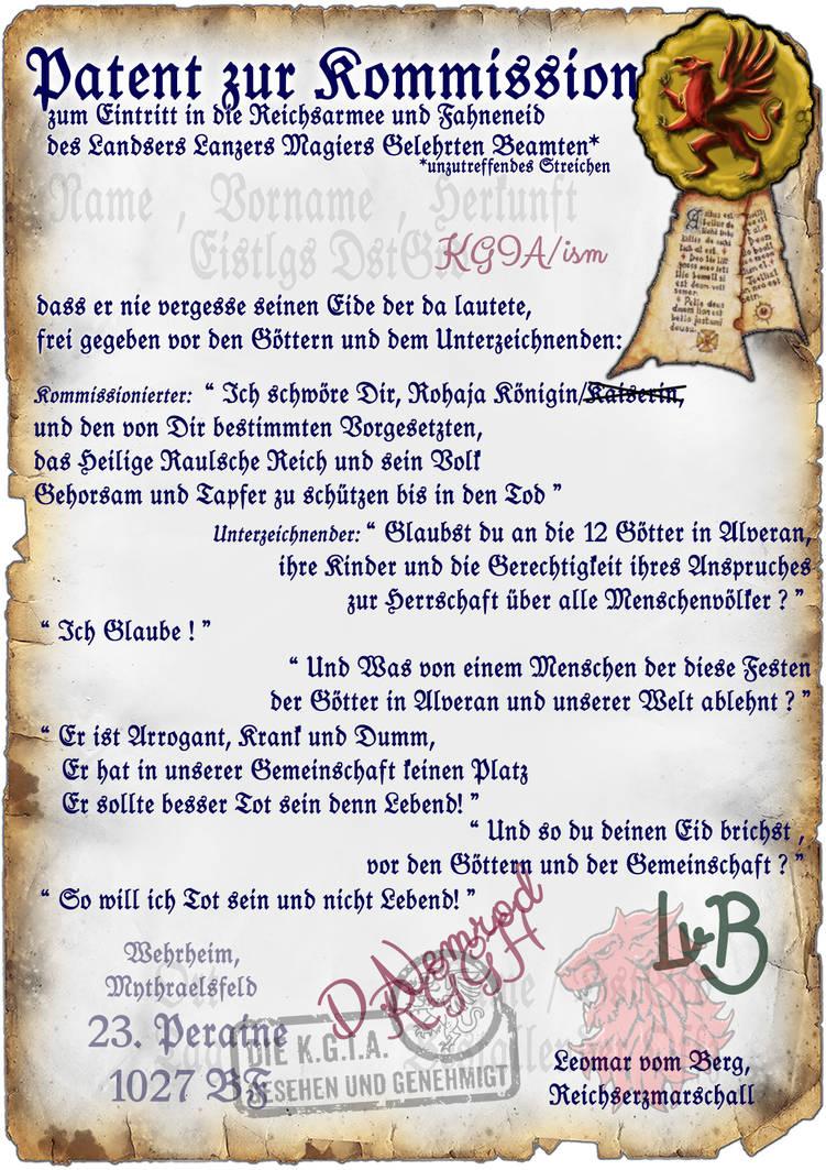 Reichsarmee - Kommissionspatent Mythraelsfeld by thomads3890