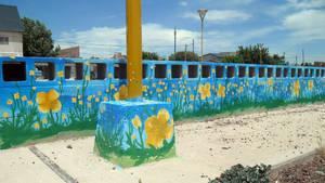 Street art of six flowers - yellow flowers by Johnny-Aza