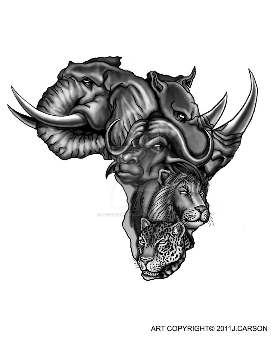African Tattoos Designs: Tattoo Commission: Africa's Big Five By JaggedCorners On
