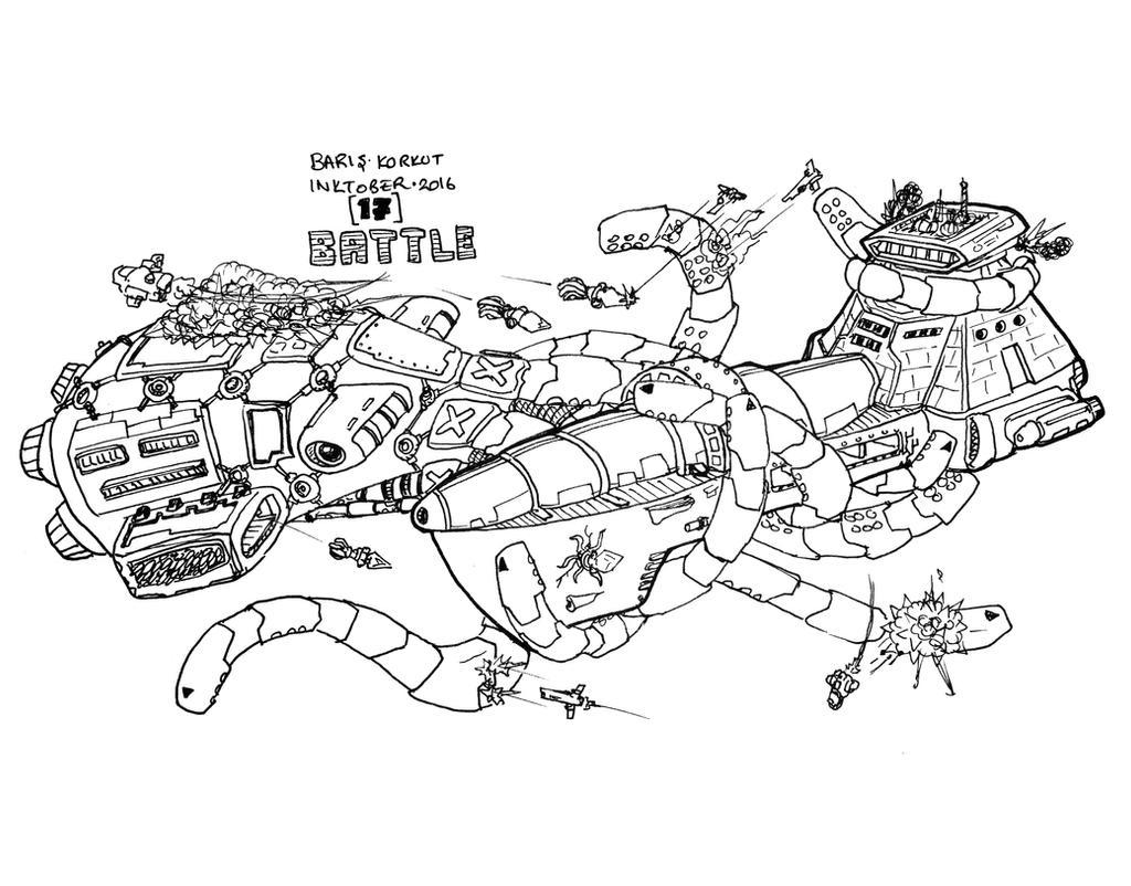 Inktober - Battle by bmkorkut