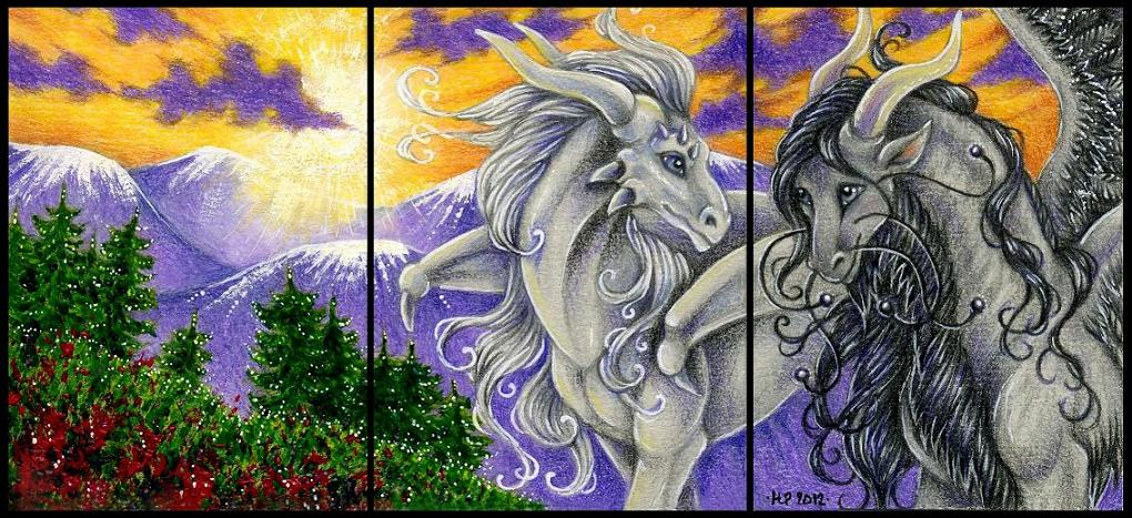 Triple ACEO trade: Purple Hills by Agaave