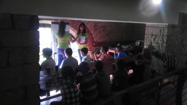Děti se rozdělily do skupin většinou podle tříd, v případě mateřských školek podle abecedy. Tyto menší skupinky pak rotovaly na čtyřech stanovištích, kde na ně čekali studenti místního gymnázia se svými plastikovými kartami a hlavami plnými znalostí, aby mohli tyto malé děti poučit o všemožných faktech o stromech a lesní flóře.