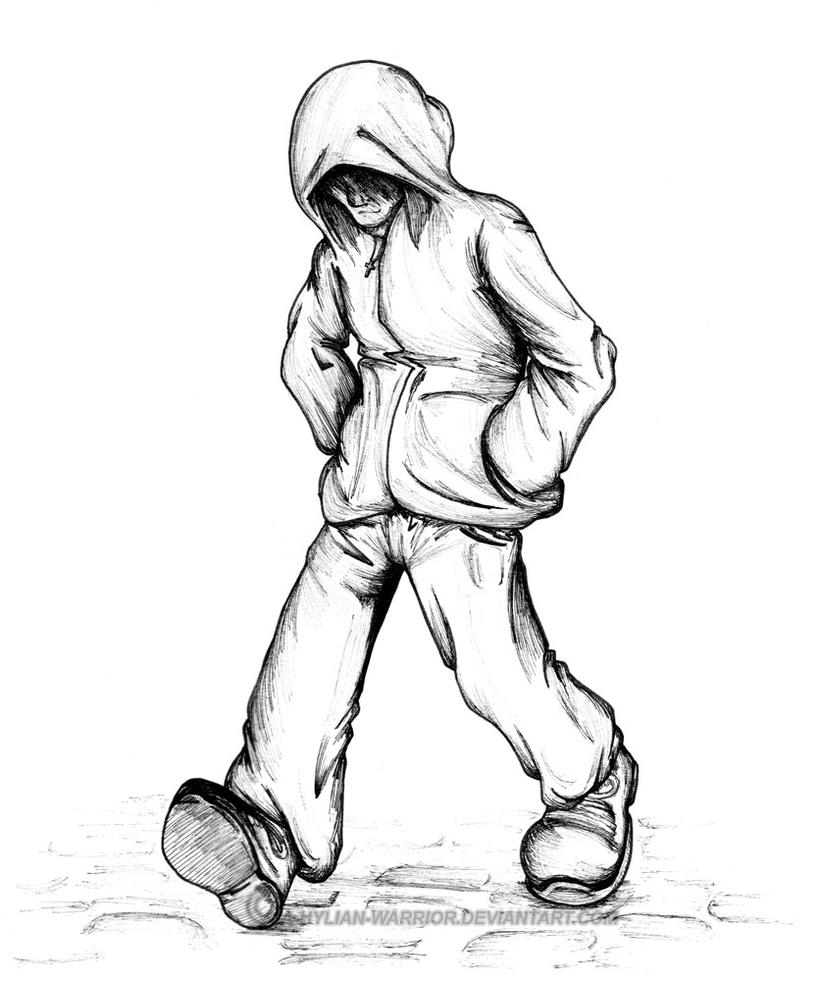 It is a graphic of Nifty Guy In Hoodie Drawing