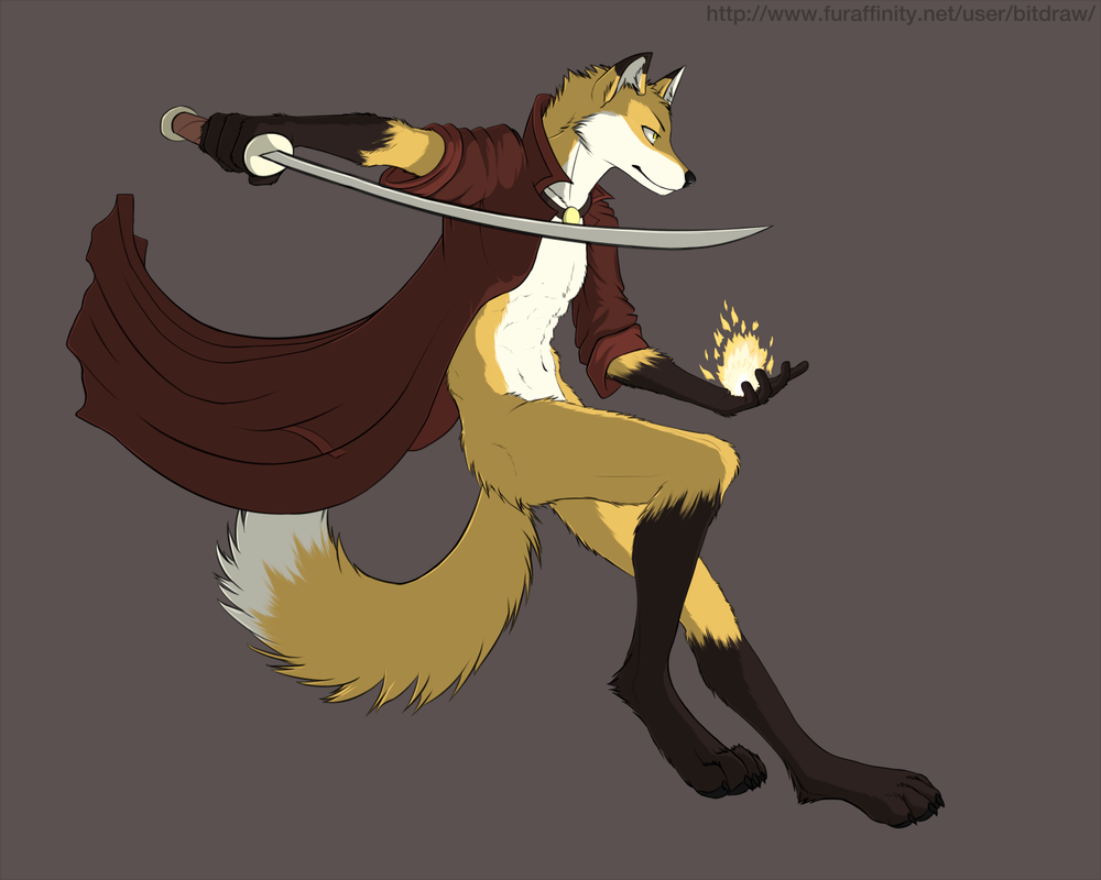 Jumping fox by bitdraw