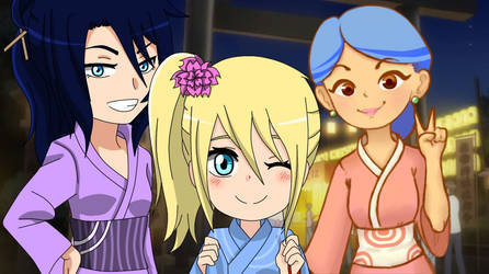 Let's go at Summer Festival! (MusaAndStellaOcs) by d-WAM-b