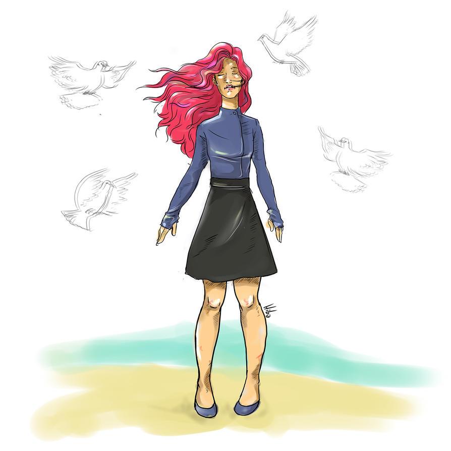 Birds Girl Standing by coralineyb