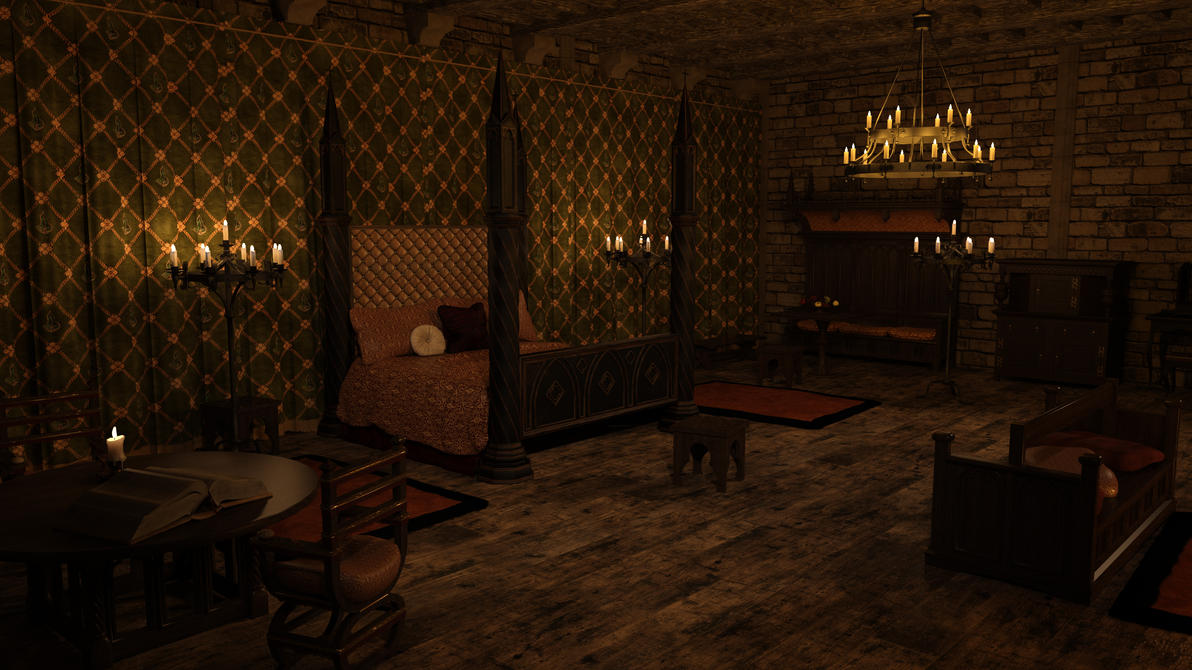 MICK Medieval Bedroom New Set Tweaks Angle 1 01 by Gator3D on