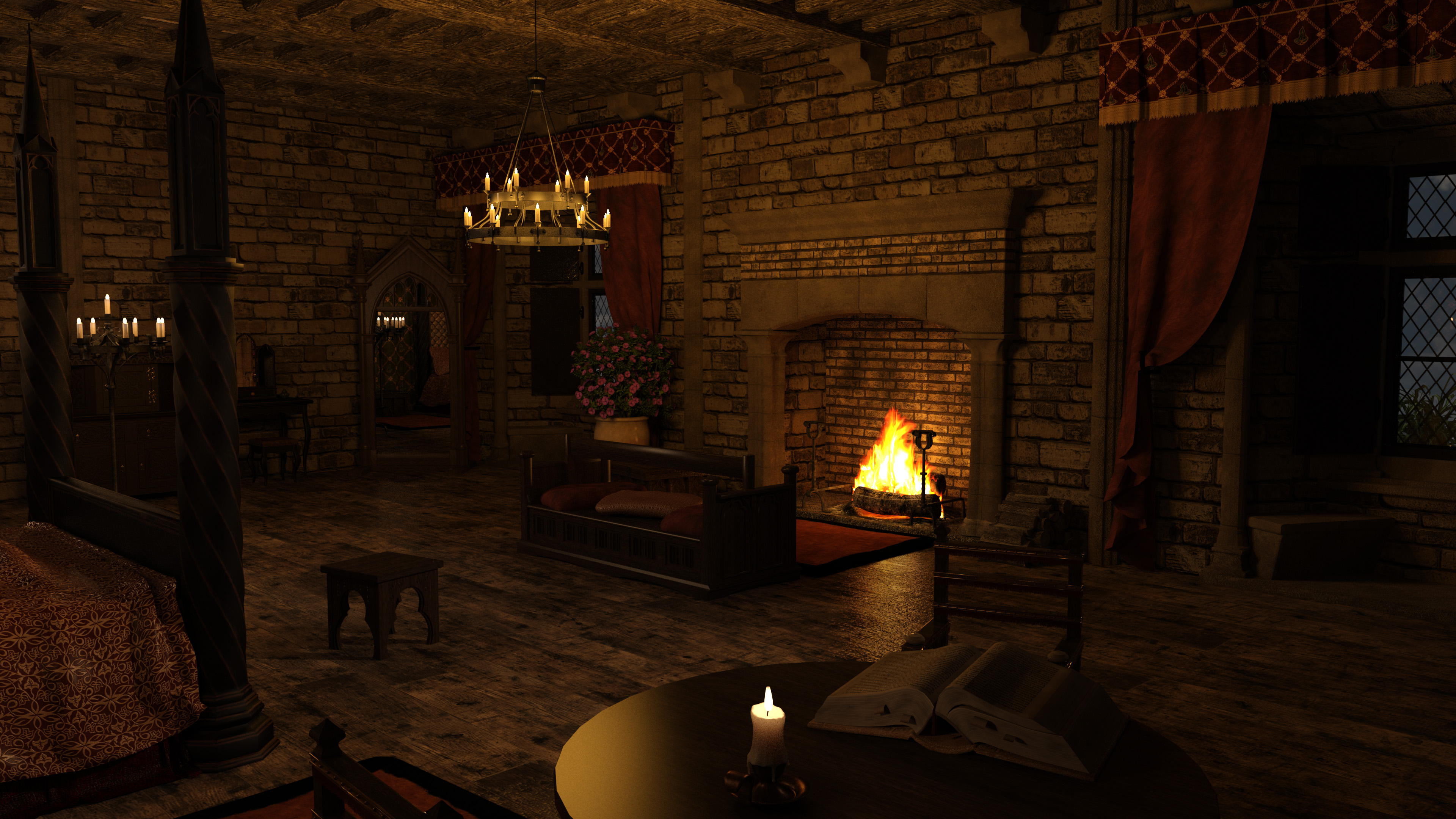 MICK Medieval Bedroom New Set Tweaks Angle 2 01 by Gator3D on