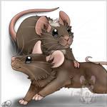 Duo toony pet portrait - mice [Minnie and Stitch]