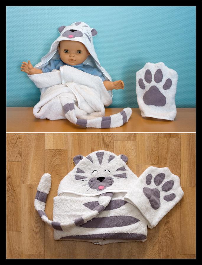 Tiger cat hooded towel by Kjiram