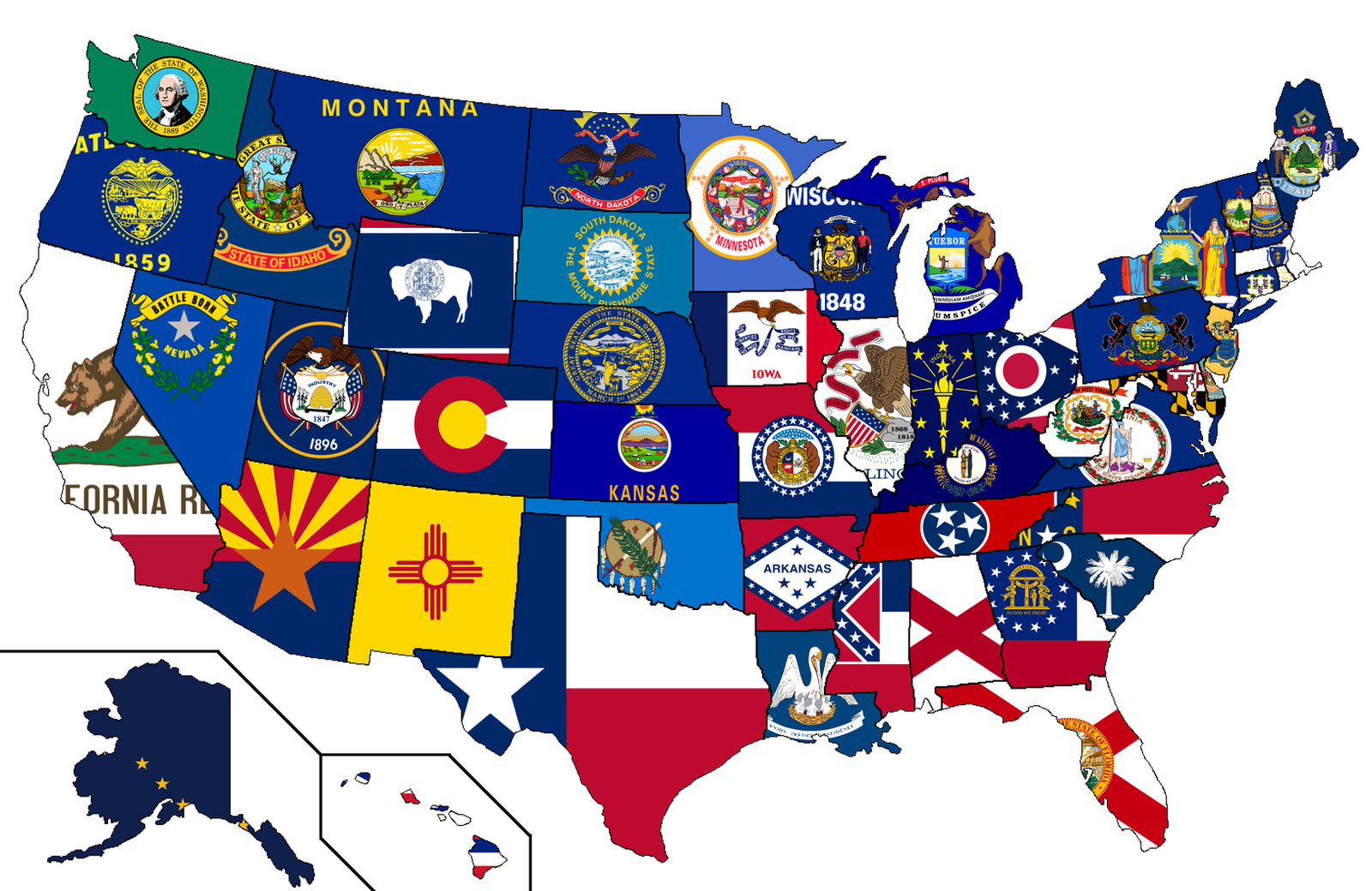 united states flags map