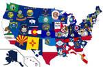 United States - Flag Map