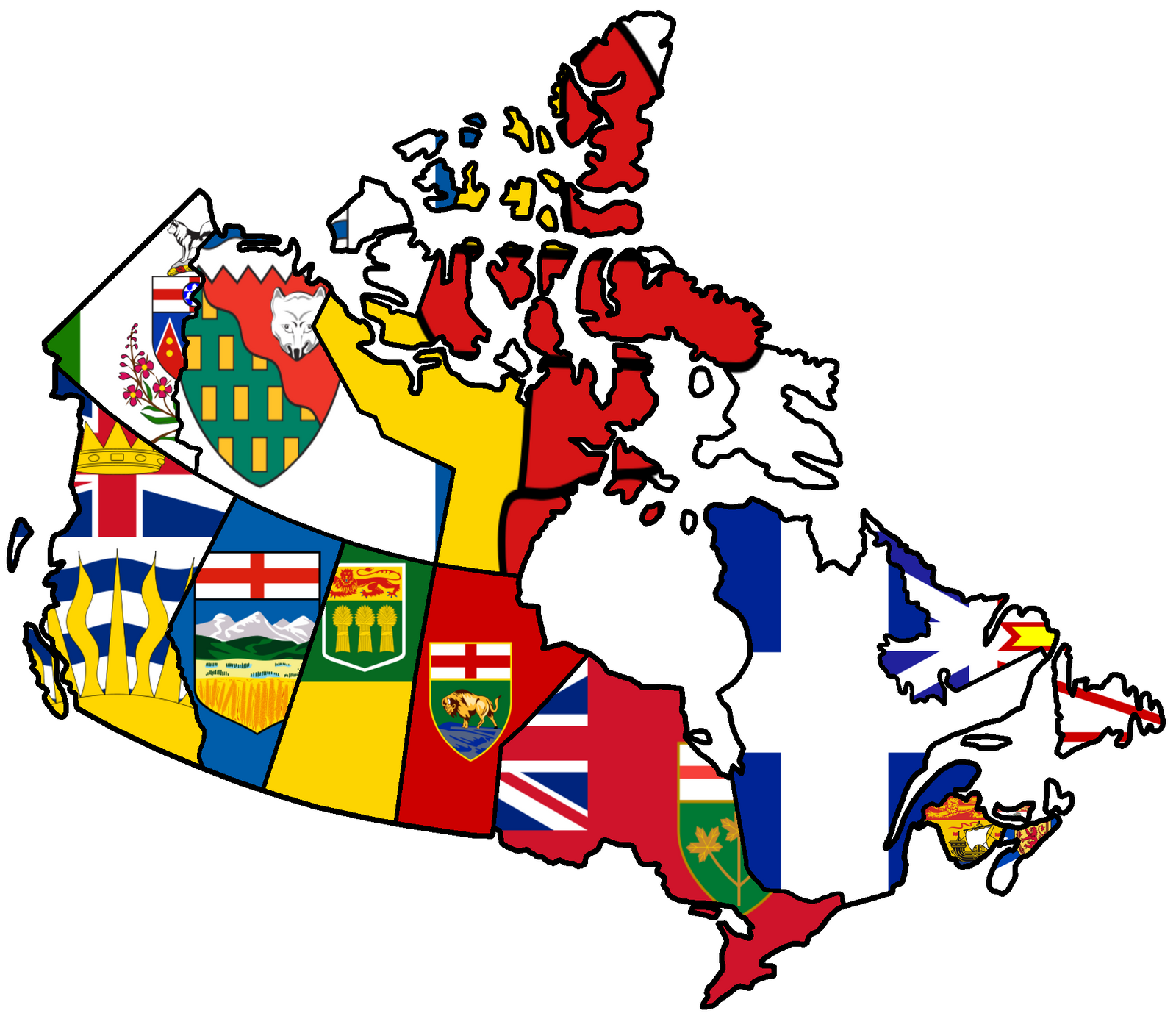 Canadian Provinces Flag Map By HeerSander On DeviantArt - Canada map with flag