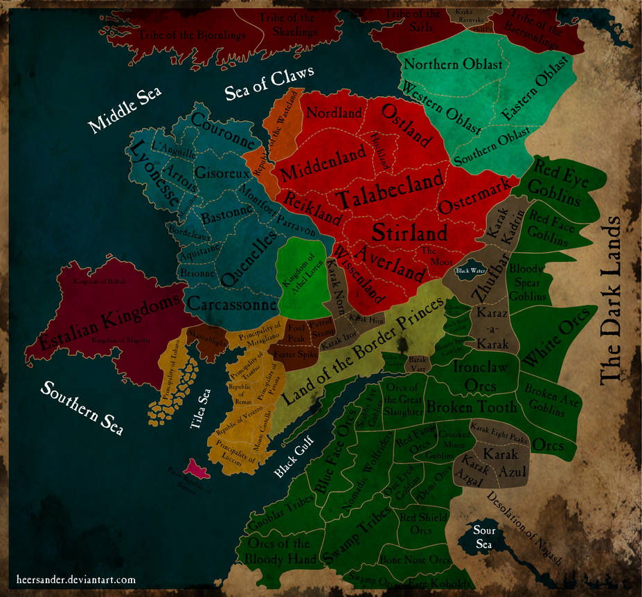 Warhammer - Political map of the Old World by HeerSander on DeviantArt
