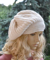 Knitted and crochet cap/hat - cream color