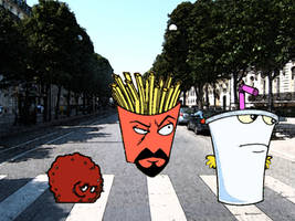 Aqua Teen on Abbey Road by azkardchic