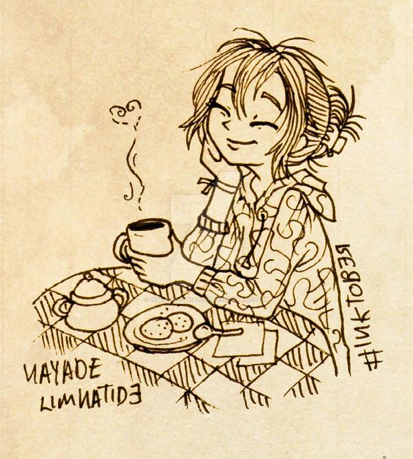 Inktober Coffee time by NayadeLimnatide