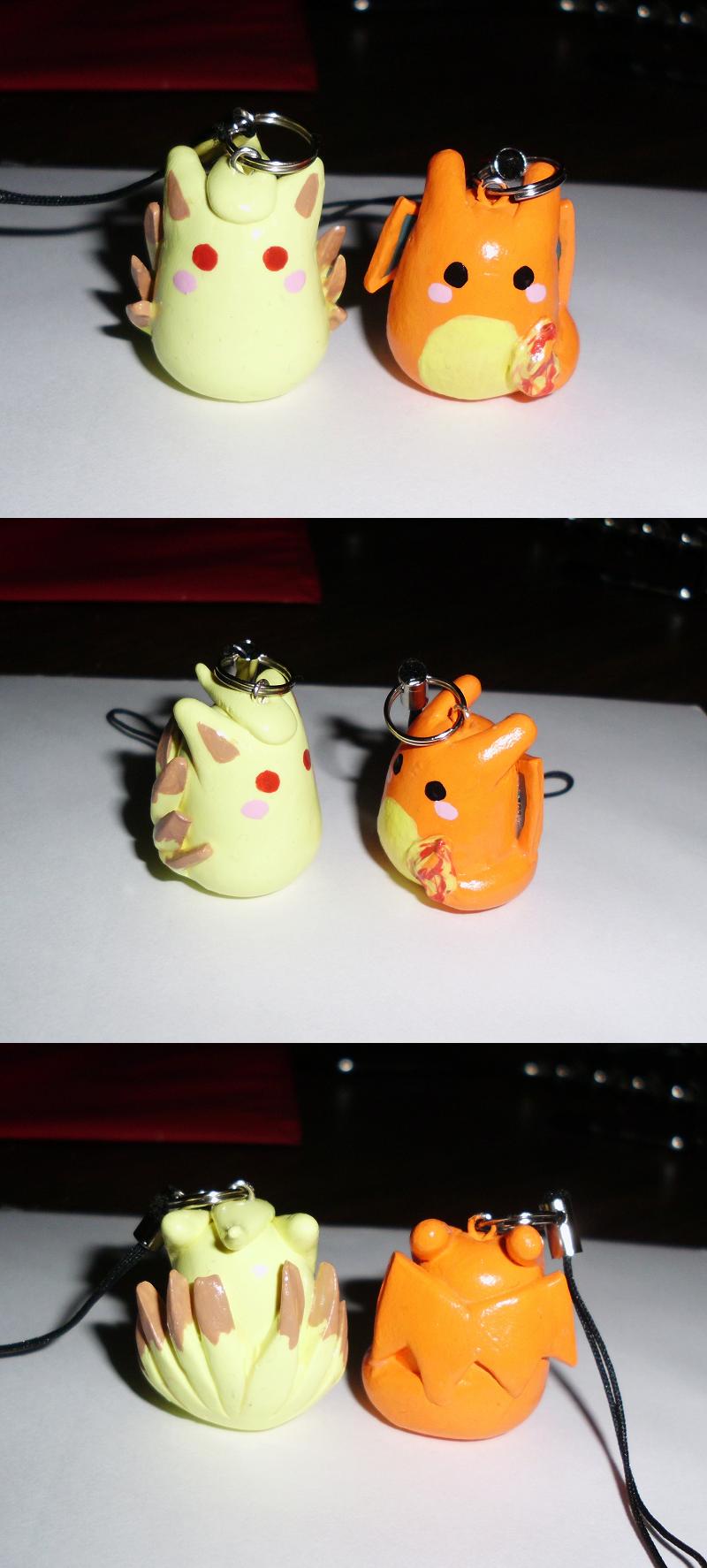 Poke-Peeps Cellphone Charm - Ninetales + Charizard by UniqueTreats