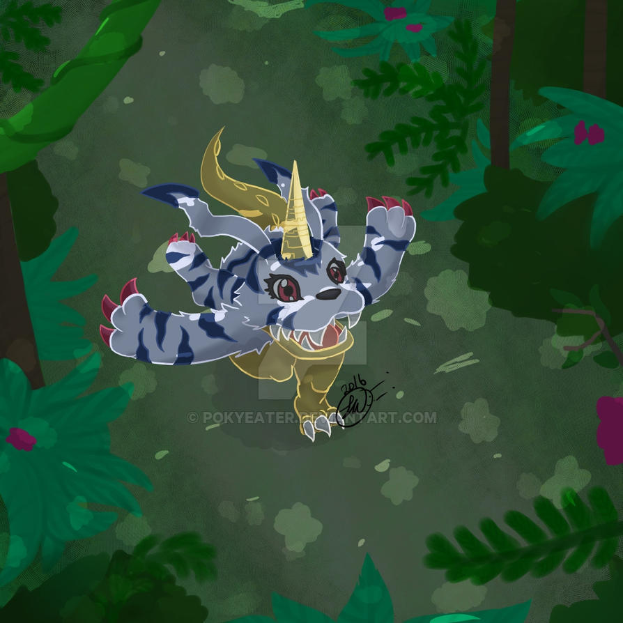 Gabumon Running (with shadows) by Pokyeater