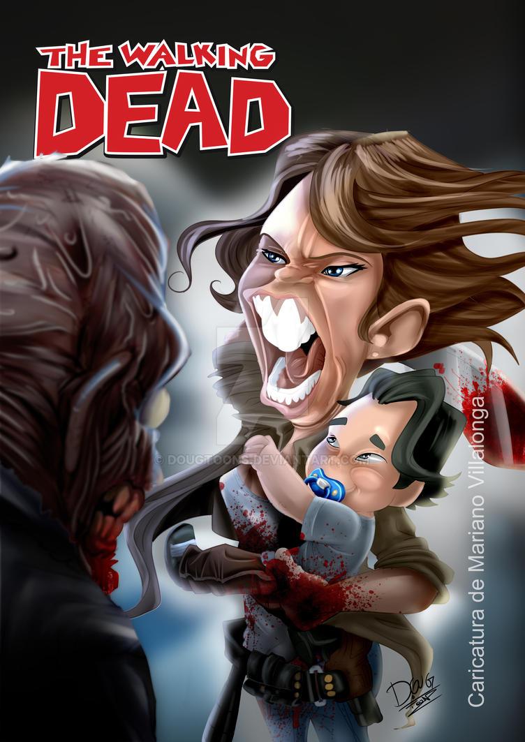 Walking Dead Maggie andHershel Greene - Caricature by dougtoons