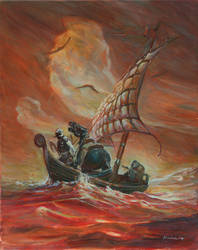 Frazetta Death Dealer on sea by Moulunerie