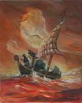 Frazetta Death Dealer on sea