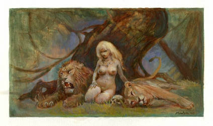 Two lions and woman by Moulunerie