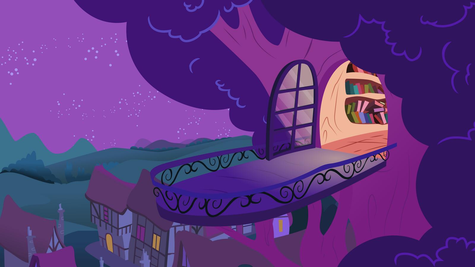 Twilight's Balcony at Night [Background] by tamalesyatole