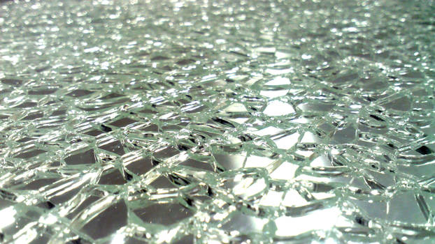 Bright Broken Tempered Sheet of Glass