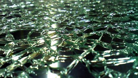 Dark Broken Tempered Sheet of Glass