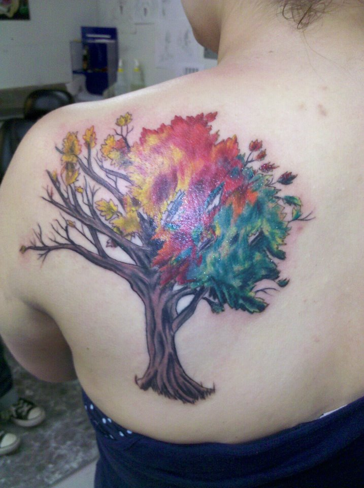 four seasons tree by truebluetattoo on deviantart