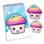 Rainbow Cupcake Notepad Set