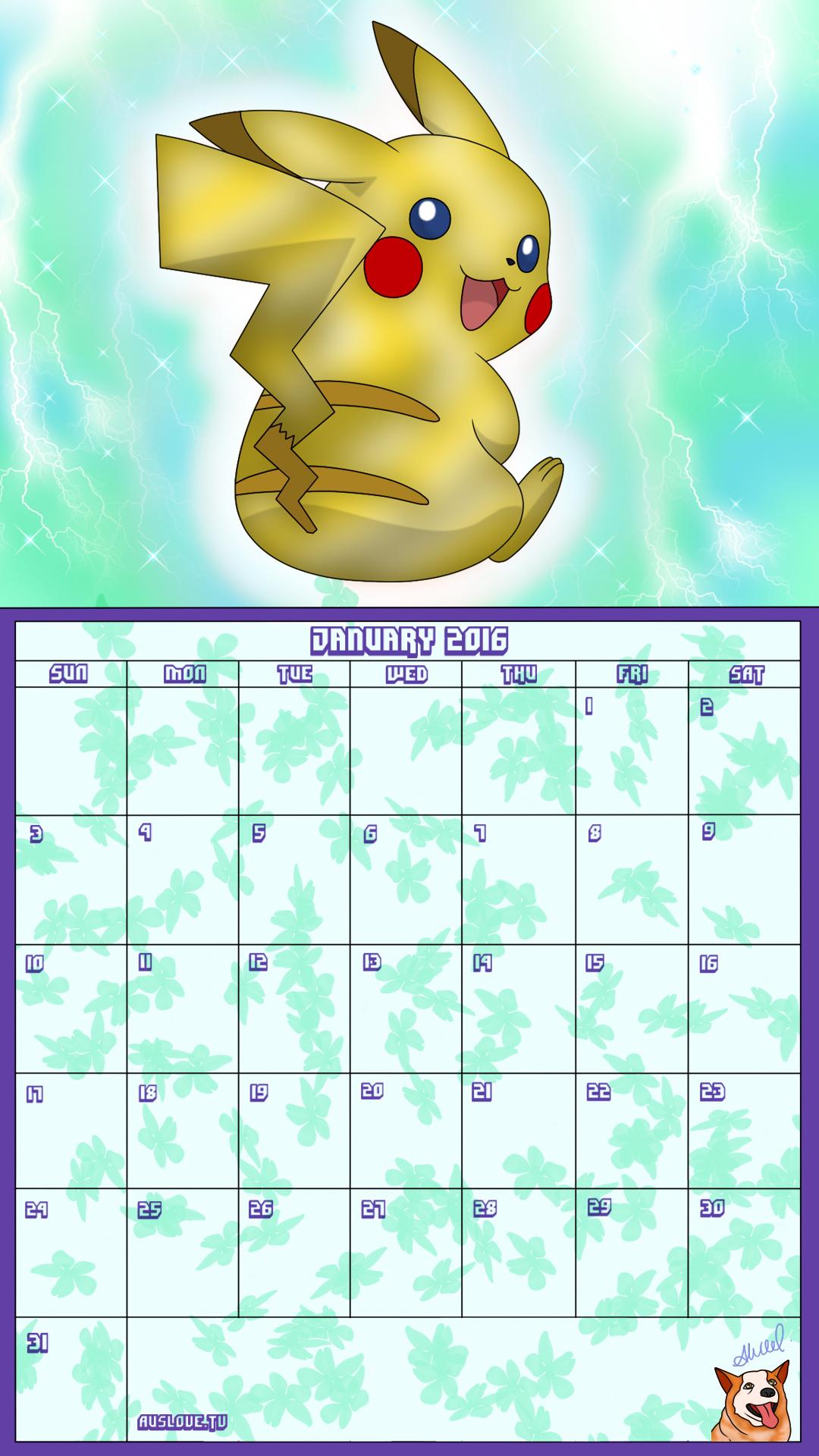 Pokemon 20th Anniversary Calender - January 2016 by AusLove