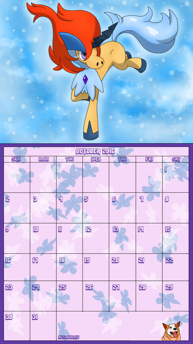 Pokemon 20th Anniversary Calender - October 2016 by AusLove