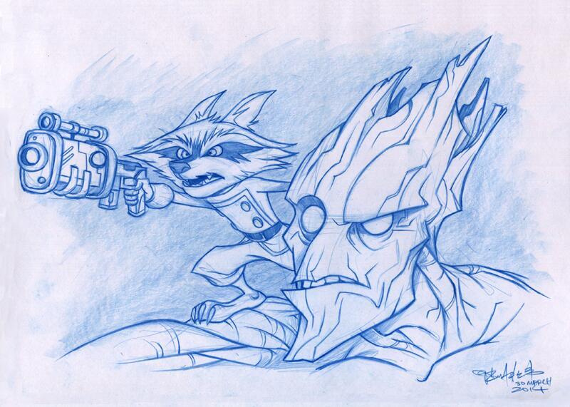 Rocket Raccoon and Groot by kehchoonwee