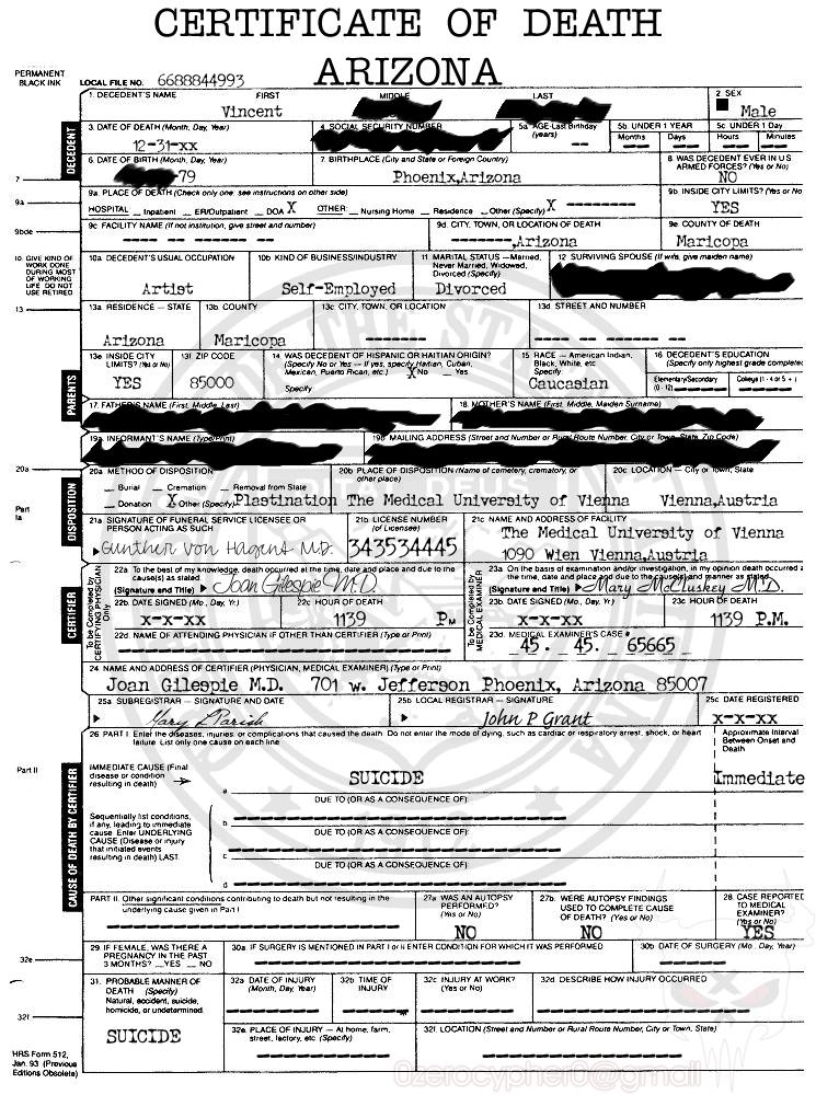 My Death Certificate By Devilushninja On Deviantart