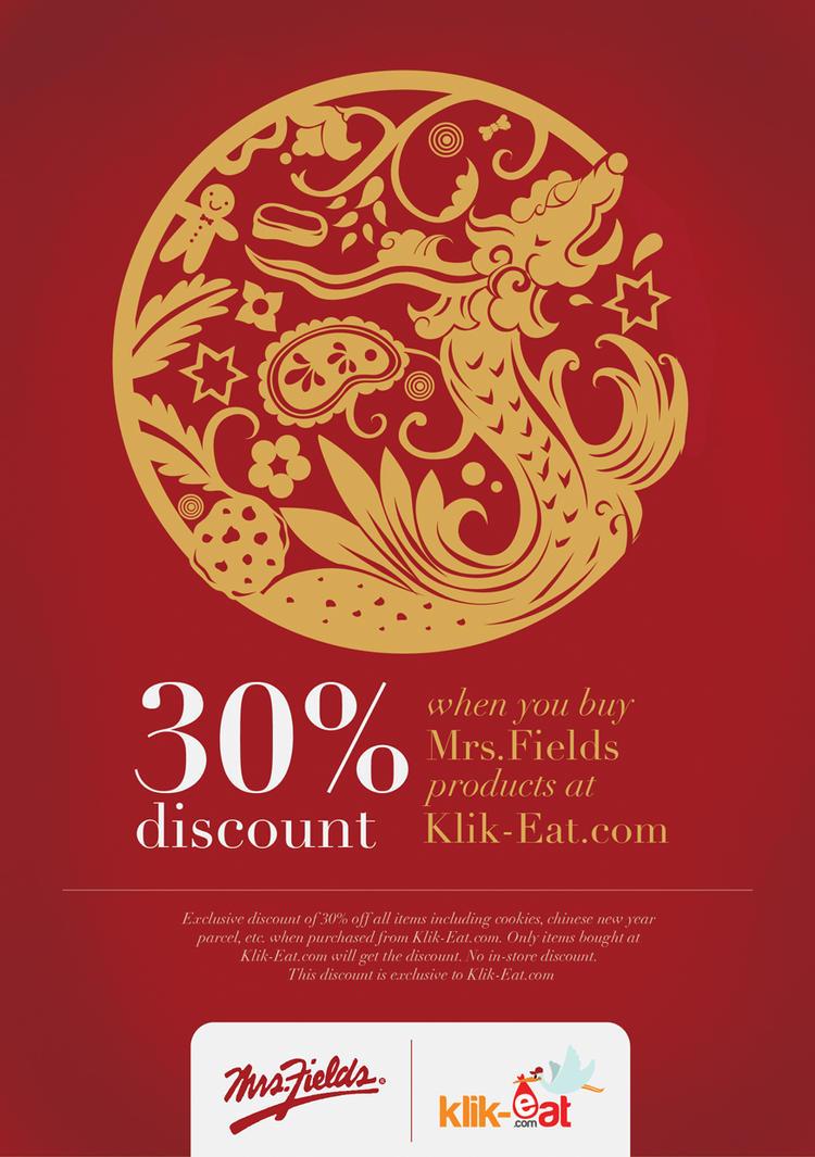 Mrs.Fields X Klik-Eat Chinese New Year Promo Flyer by noodlekiddo
