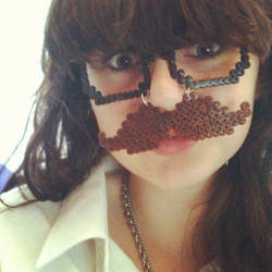 Perler beads mustache and glasses by sannesan