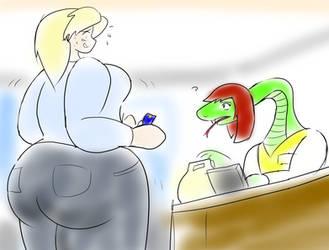 Suzu and the Naga Cashier by Feyzer