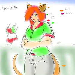 Saskia, a long-haired catgirl
