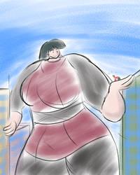 Sabrina as enormaiden in pencil sketch mode