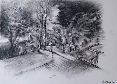 Pathway To The Cemetery, charcoal 2014