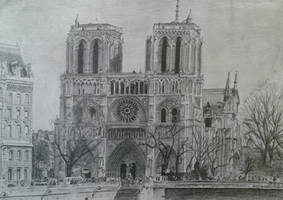 Notre Dame Drawing, 2010 by UniiqueTouch